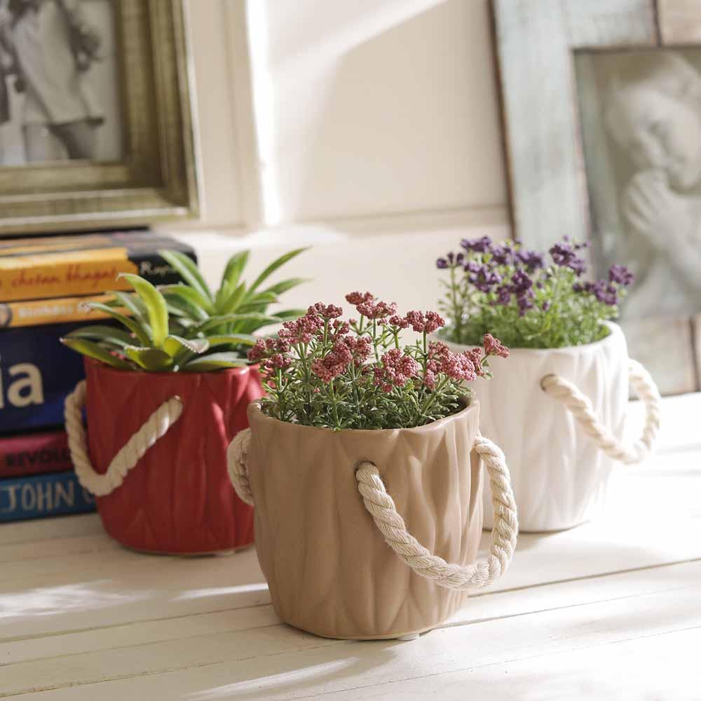 Red White & Beige Bucket Style 8.5 CM Planter Pots