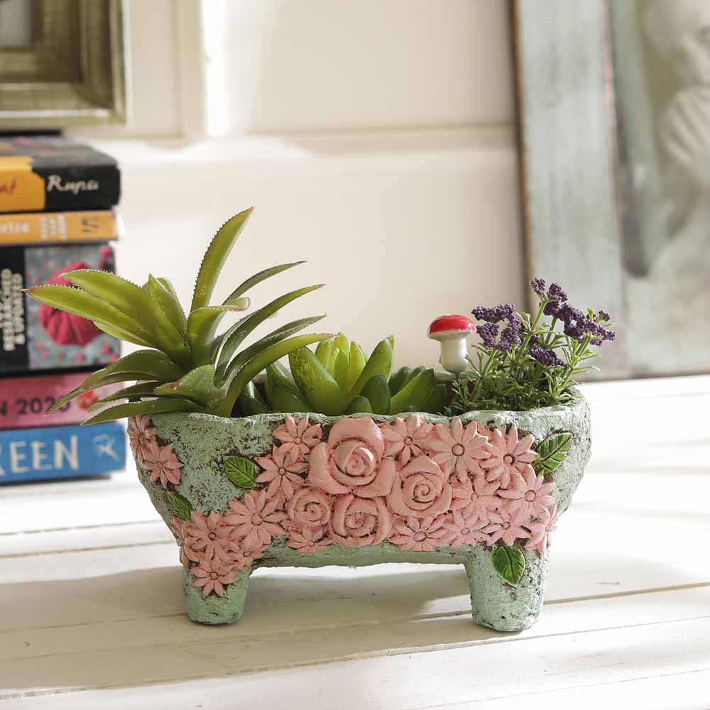 Beautiful Floral Designed Pink & Blue 7.5 CM Planter Pot
