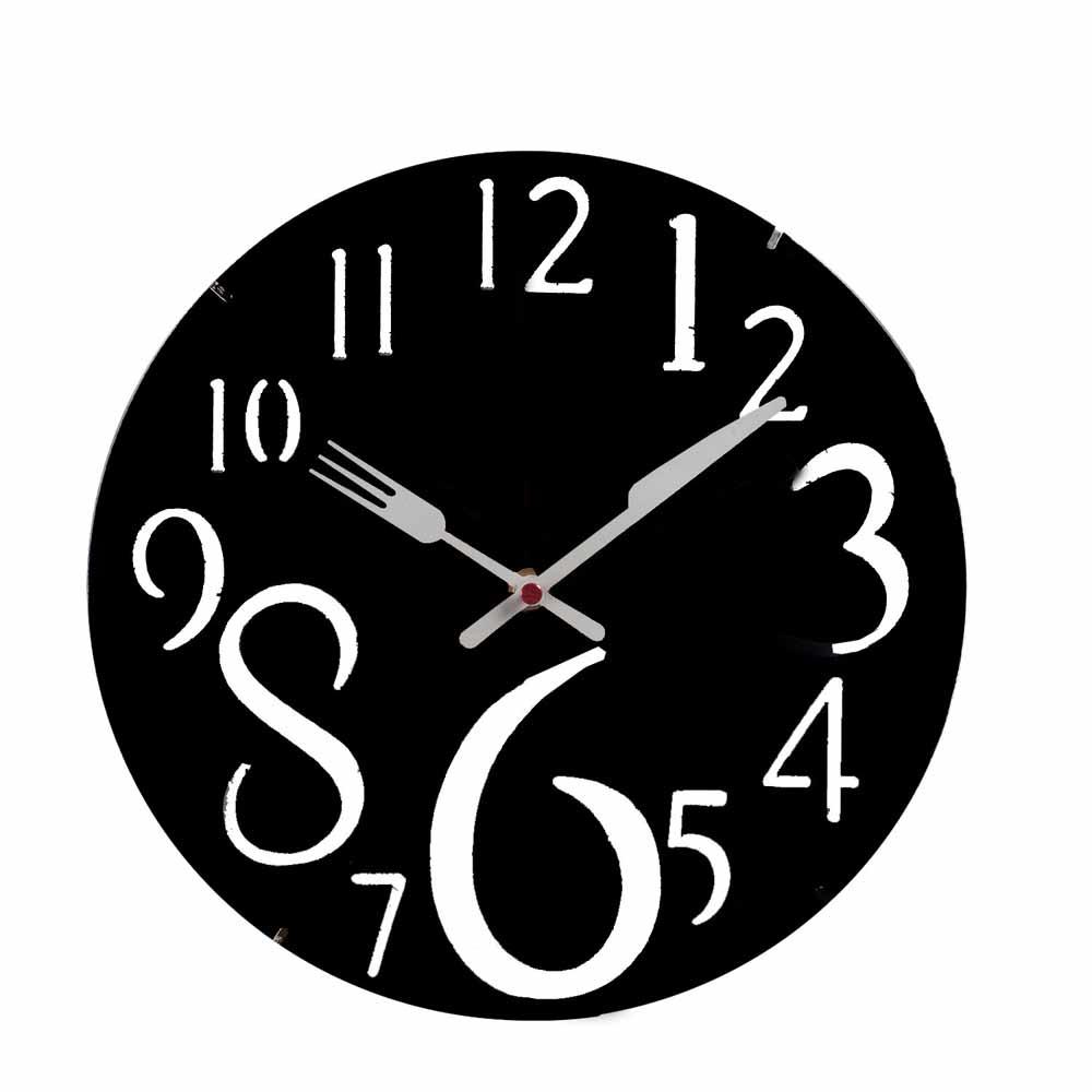 Pretty Black Round Analog Wall Clock