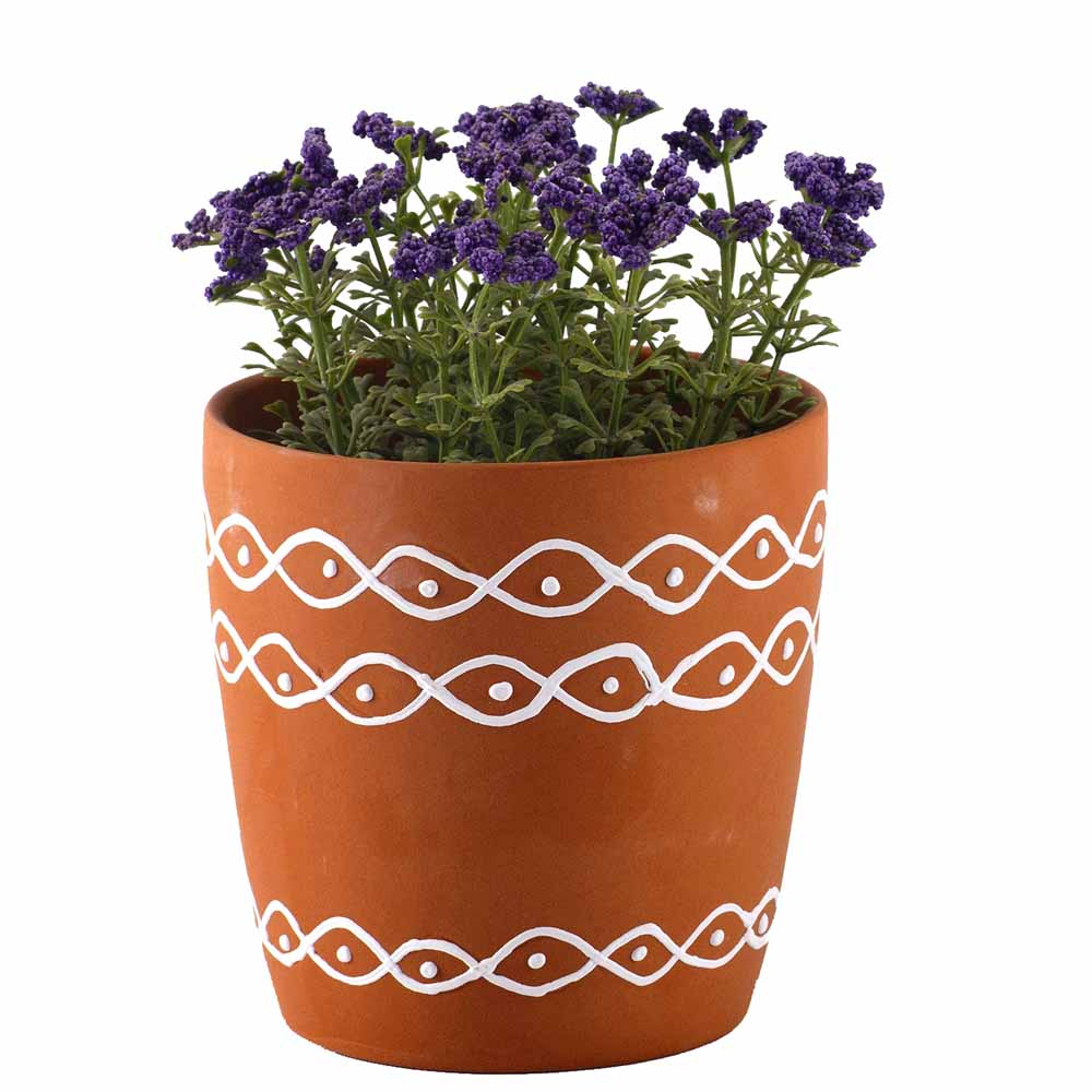 Village Design Brown Ceramic Planter Pot