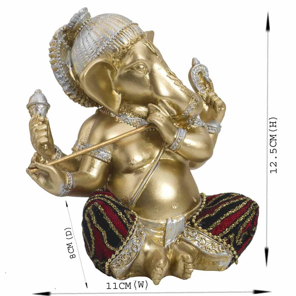 Gold Plated Idols-Artistic Gold Finish Ganesha Idol Showpiece with Flute