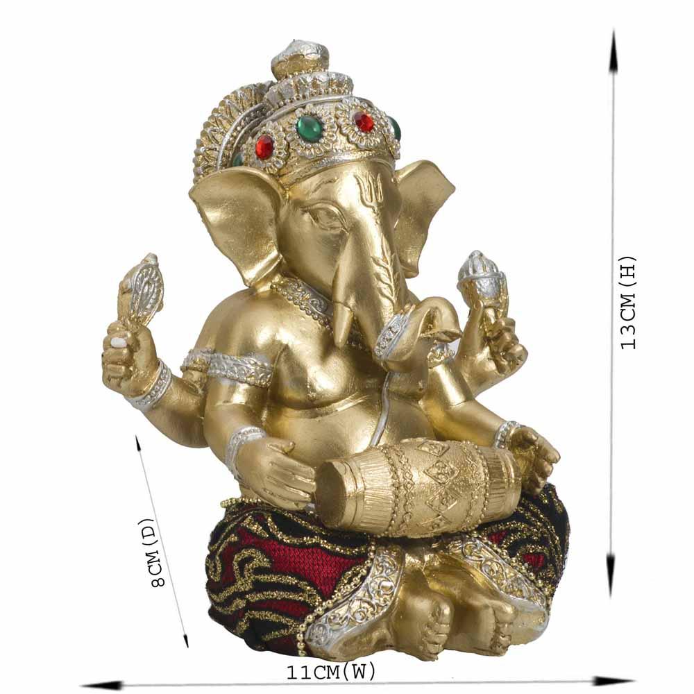 Gold Plated Idols-Beautiful Gold Finish Ganesha Idol with Dholak