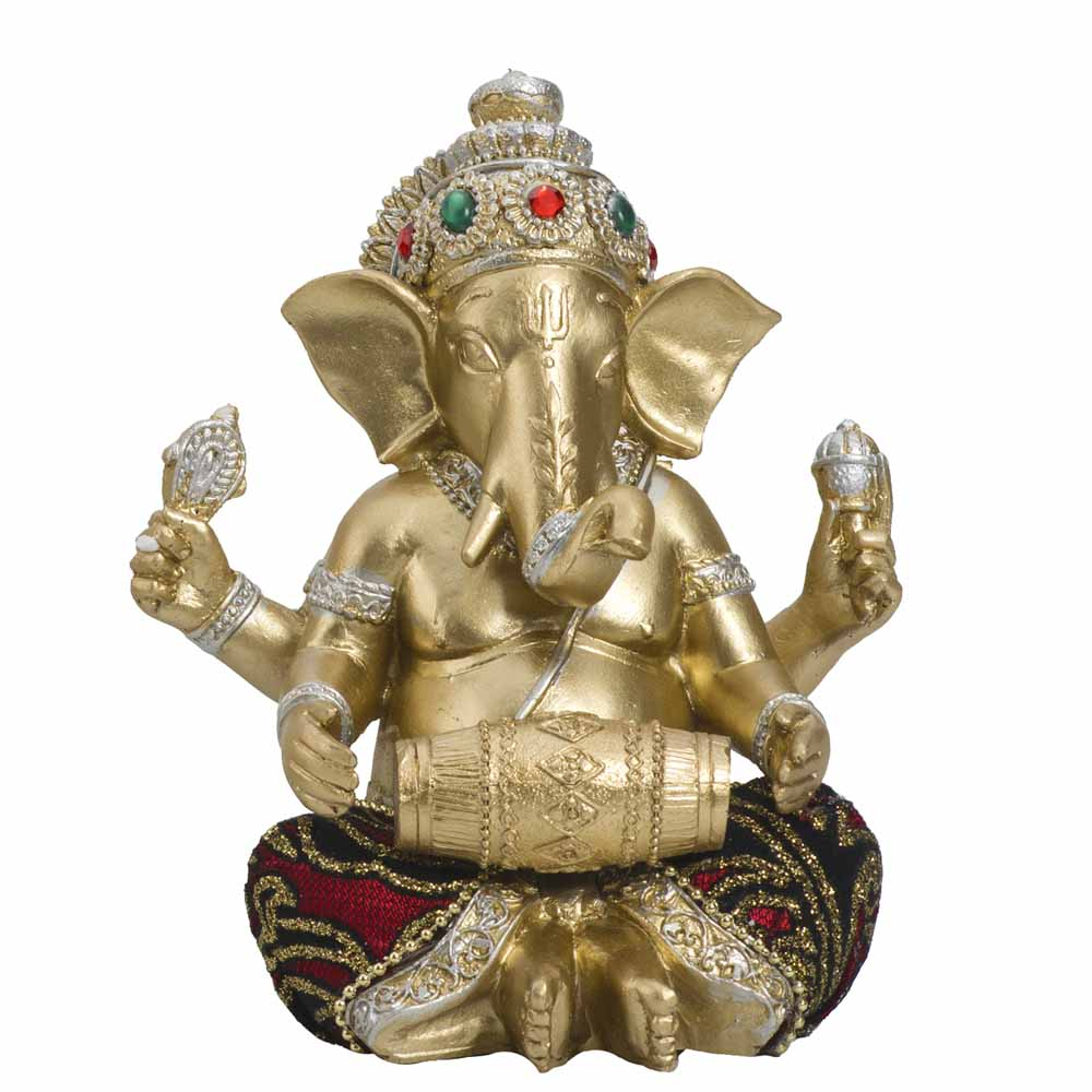 Gold Plated Idols-Beautiful Gold Finish Ganesha Idol with Dholak