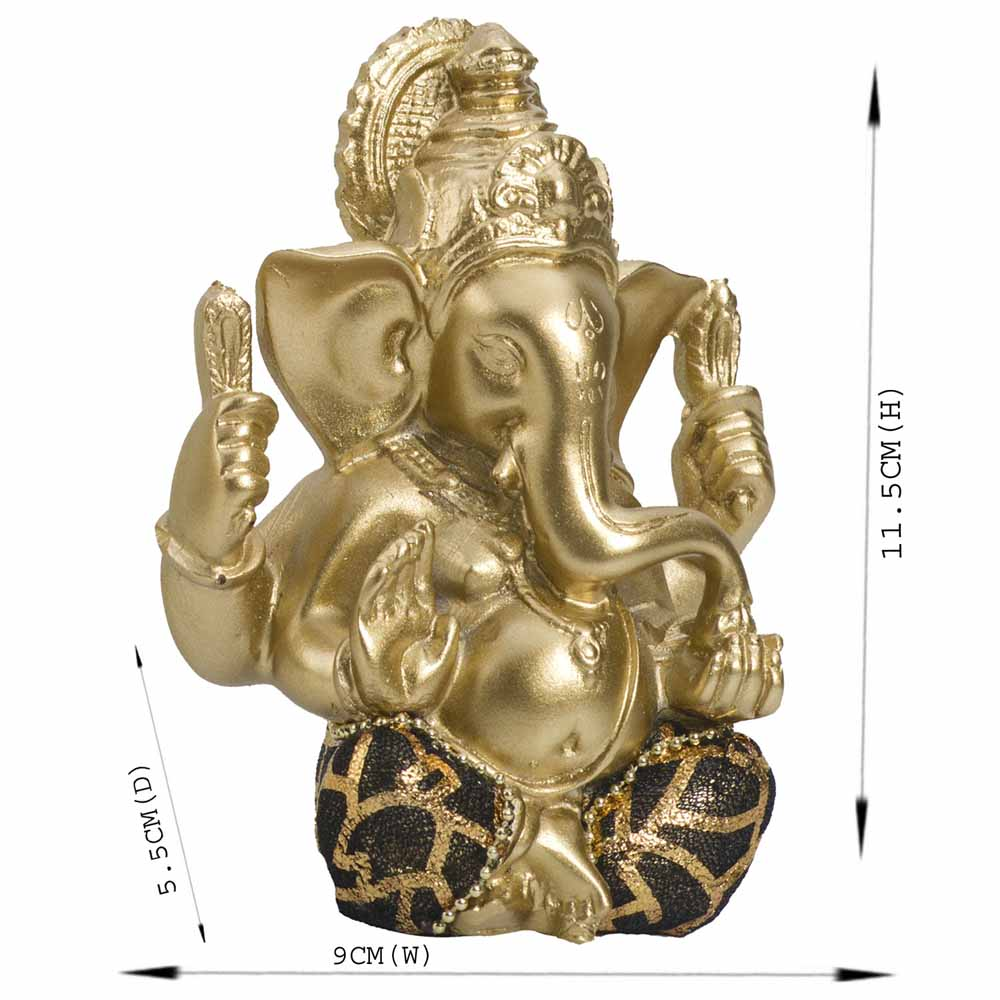Gold Plated Idols-Beautifully Handcrafted Gold Finish Ganesha Idol Showpiece