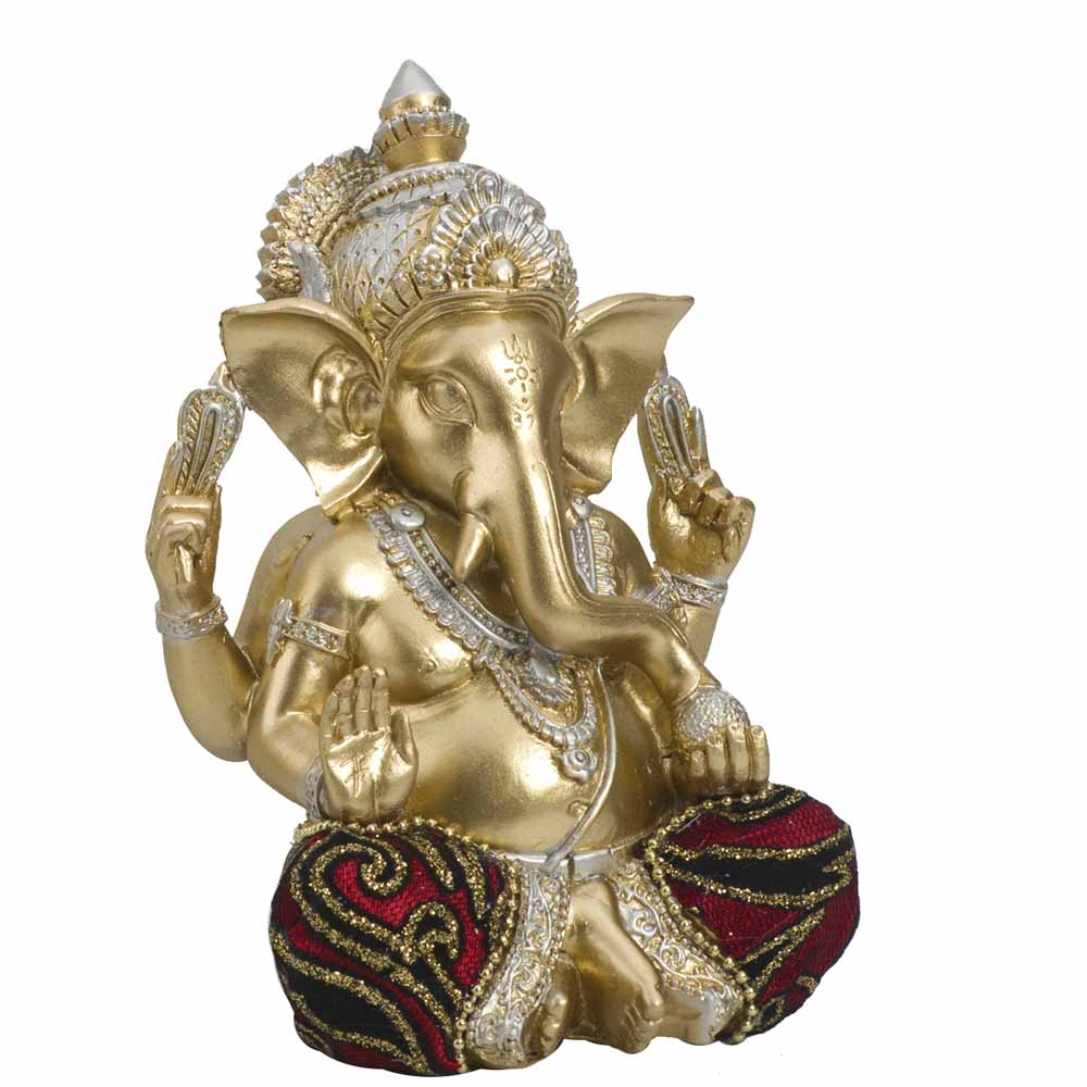 Gold Plated Idols-Marvelleous Gold Finsih Ganesha Showpiece