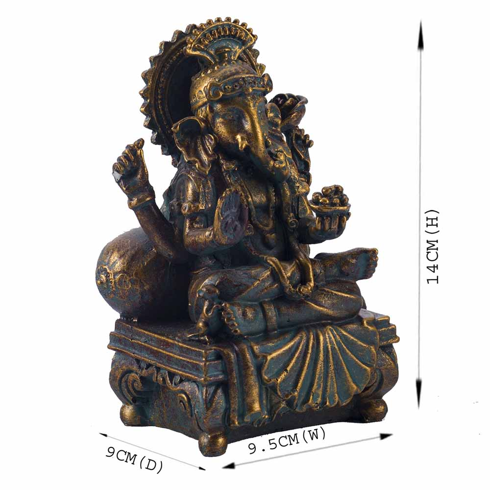 Gold Plated Idols-Charming Gold Finish Ganesha Idol Showpiece