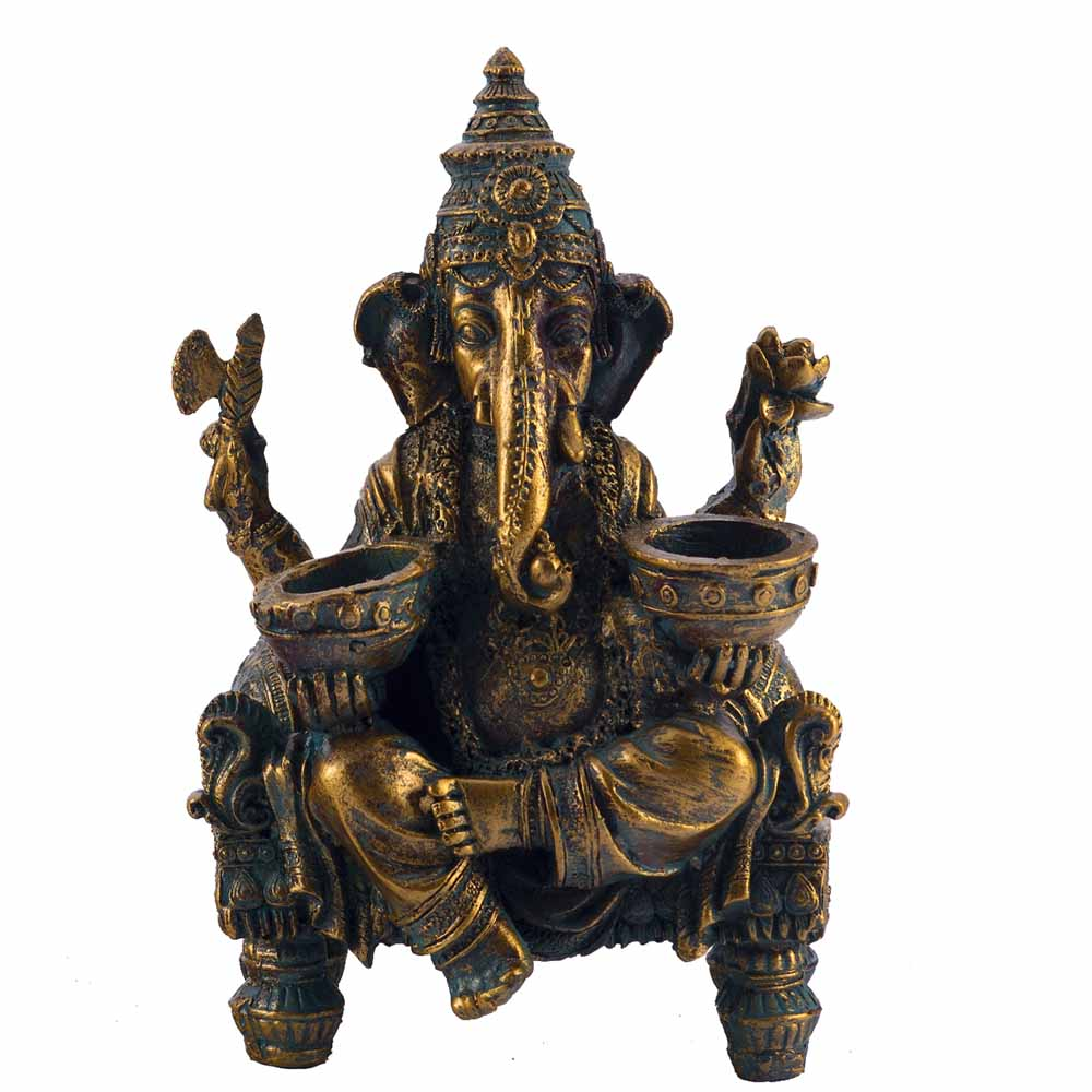 Antique Finish Ganesha Sitting on Chowki Showpiece