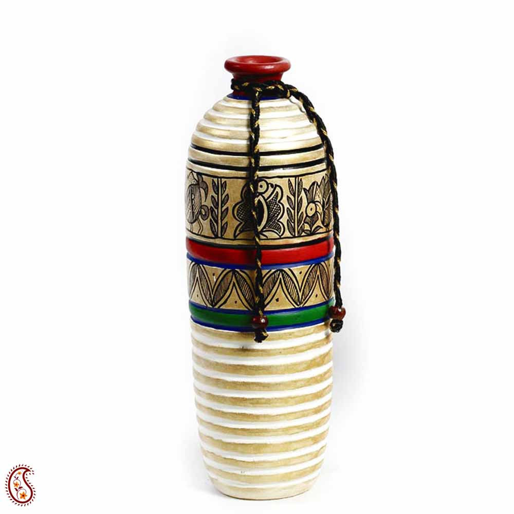 Gold and White Hand Painted Terracotta Vase