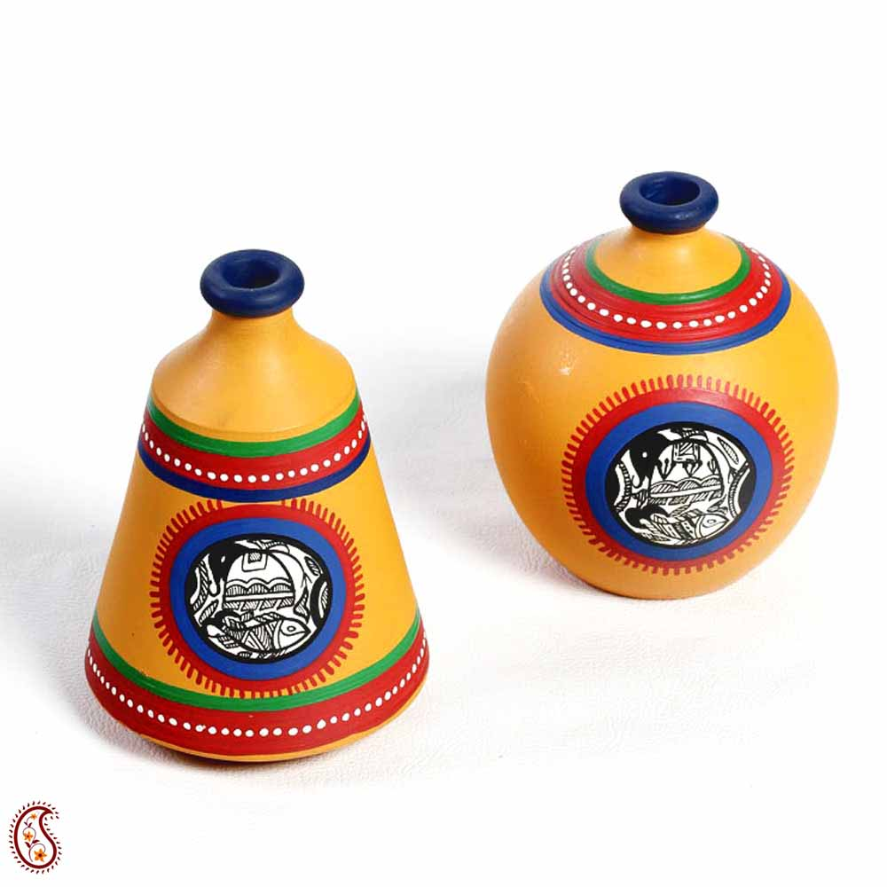 Saffron Yellow and Blue Hand painted Terracotta Vase Set