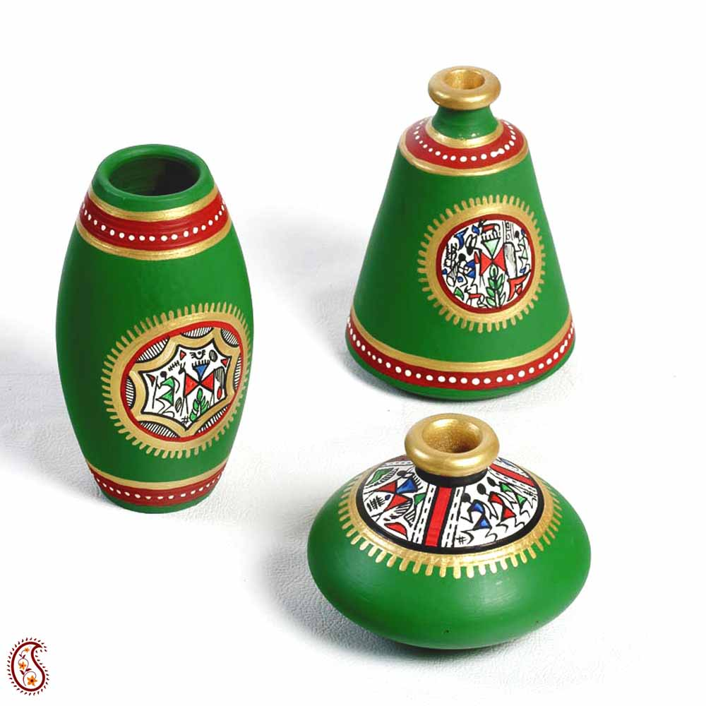 Green and Gold hand painted terracotta vase set with tribal art