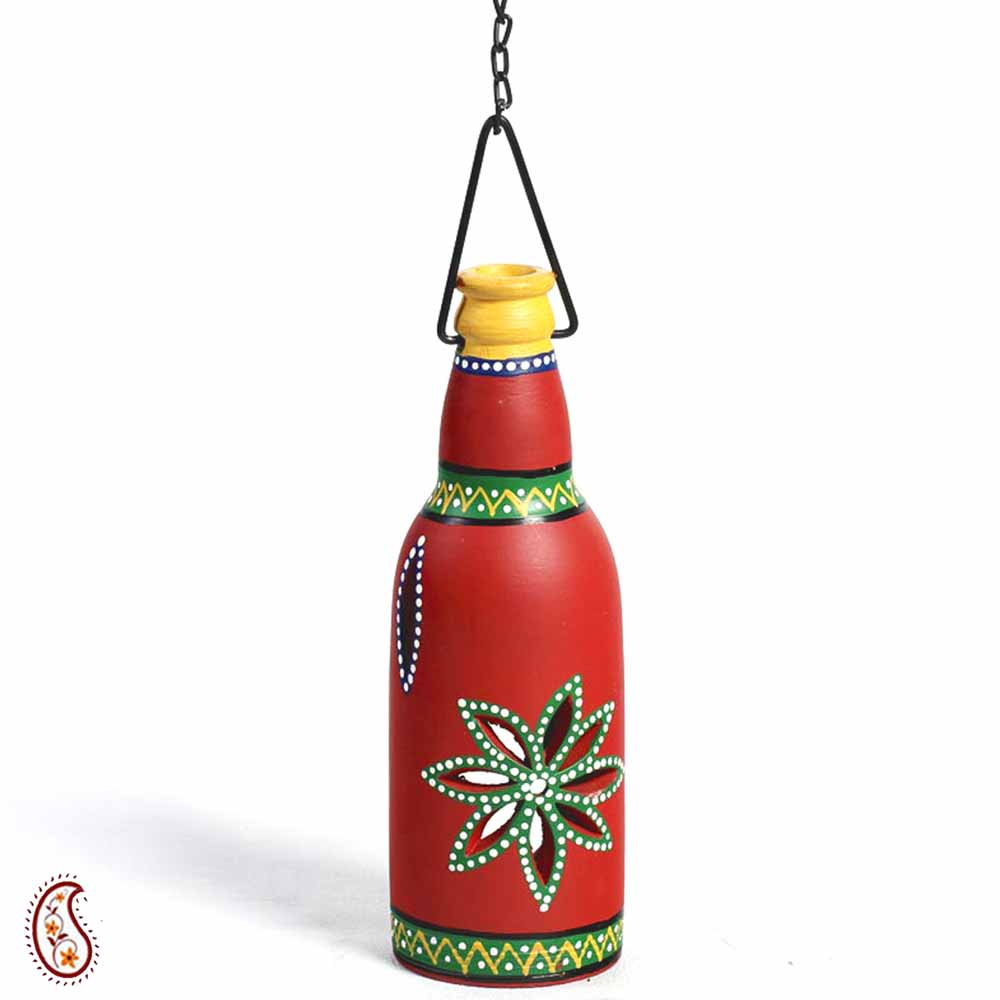 Red Terracotta Bottle Lantern with hand painted motifs