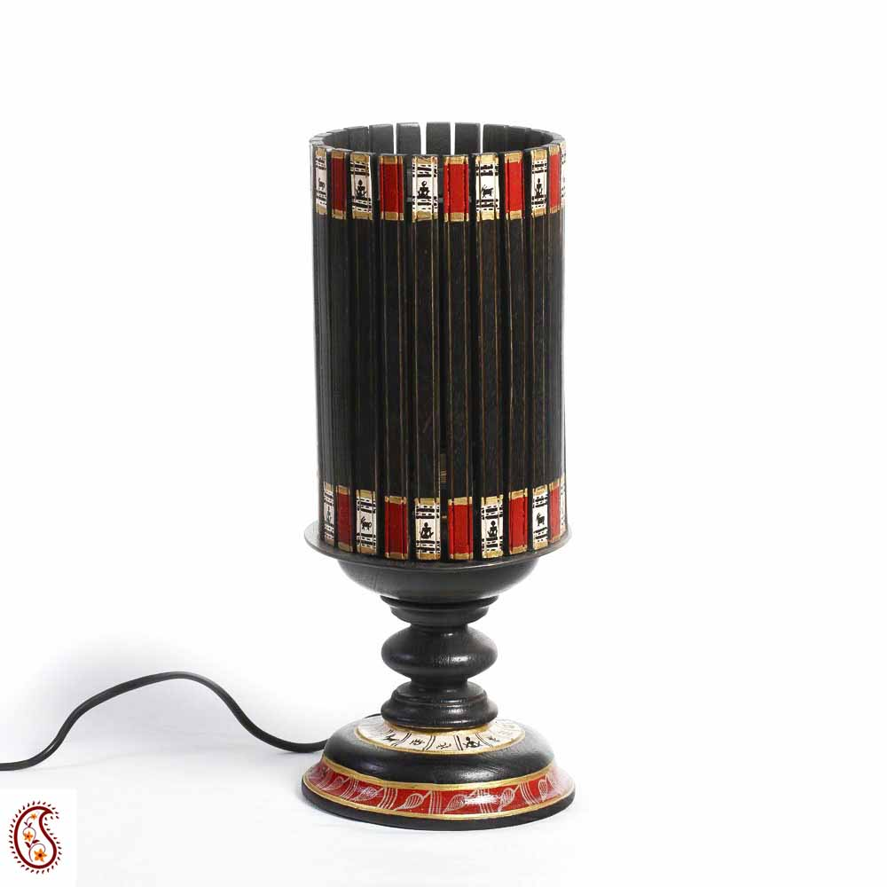 Black Terracotta Hand painted Table Lamp with wood base