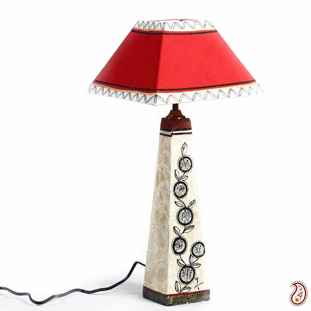 Red Paper Lamp With Hand painted Terracotta Base