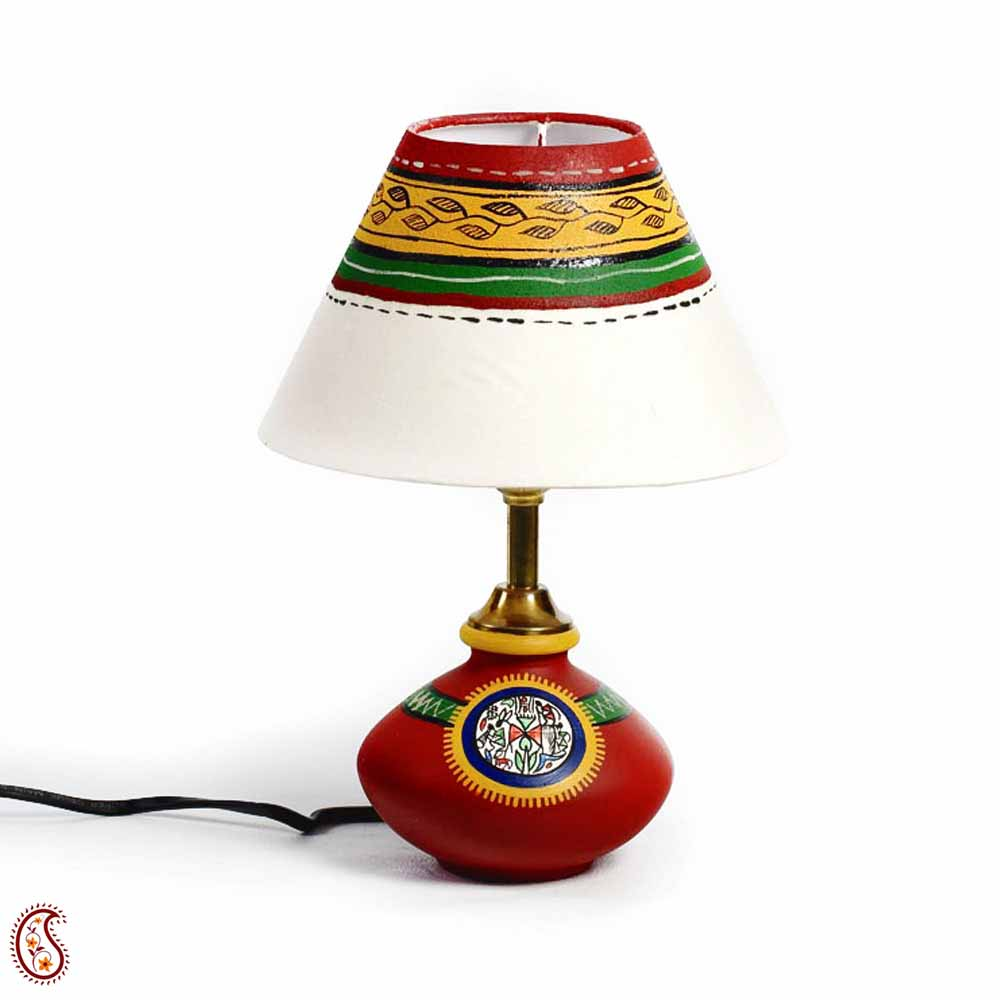 Multicolor Hand painted Terracotta Base Table Lamp with Tribal Art
