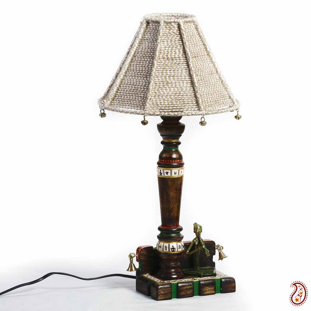 Tribal Art Work Wood Base Table Lamp with Jute Cord Shade