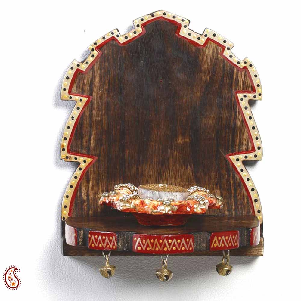 Decorative Wood Shelf with Painted Motifs and Bells