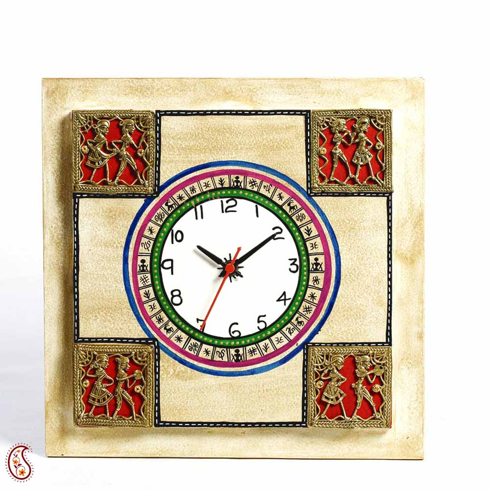 burnished wood tribal art wall clock india