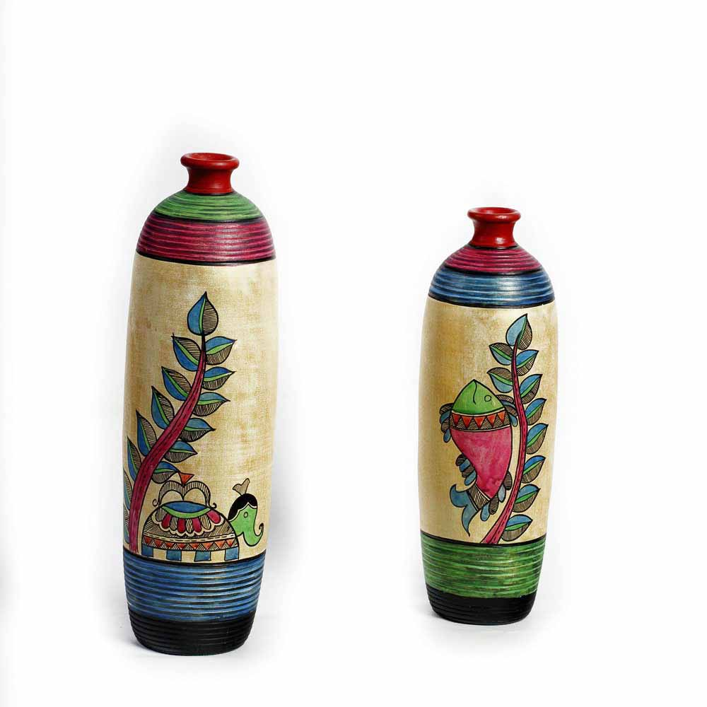 Multicolor Hand painted Terracotta Vase with Elephant and Fish Motif