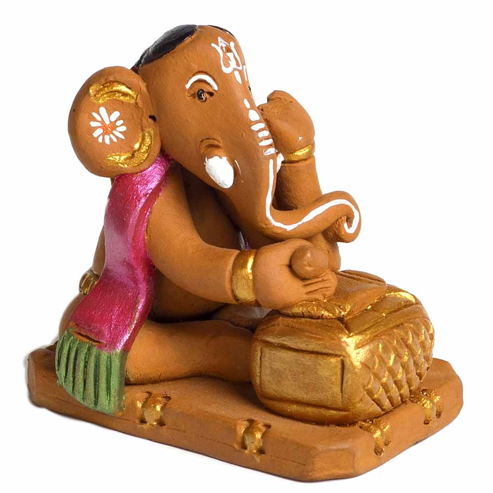 Terracotta-Brown & Pink Terracotta Writing Ganesh Showpiece