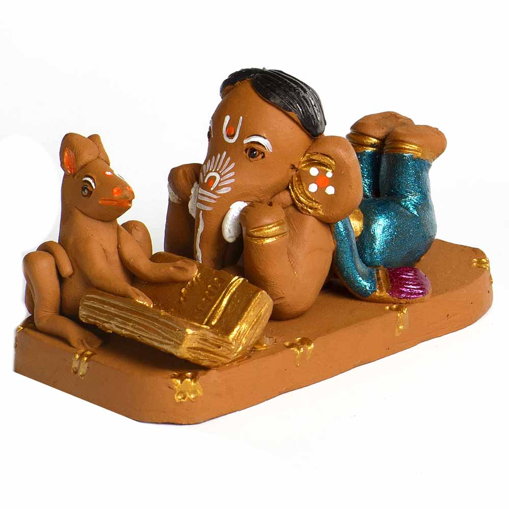 Brown & Blue Terracotta Book Reading Ganesh Showpiece
