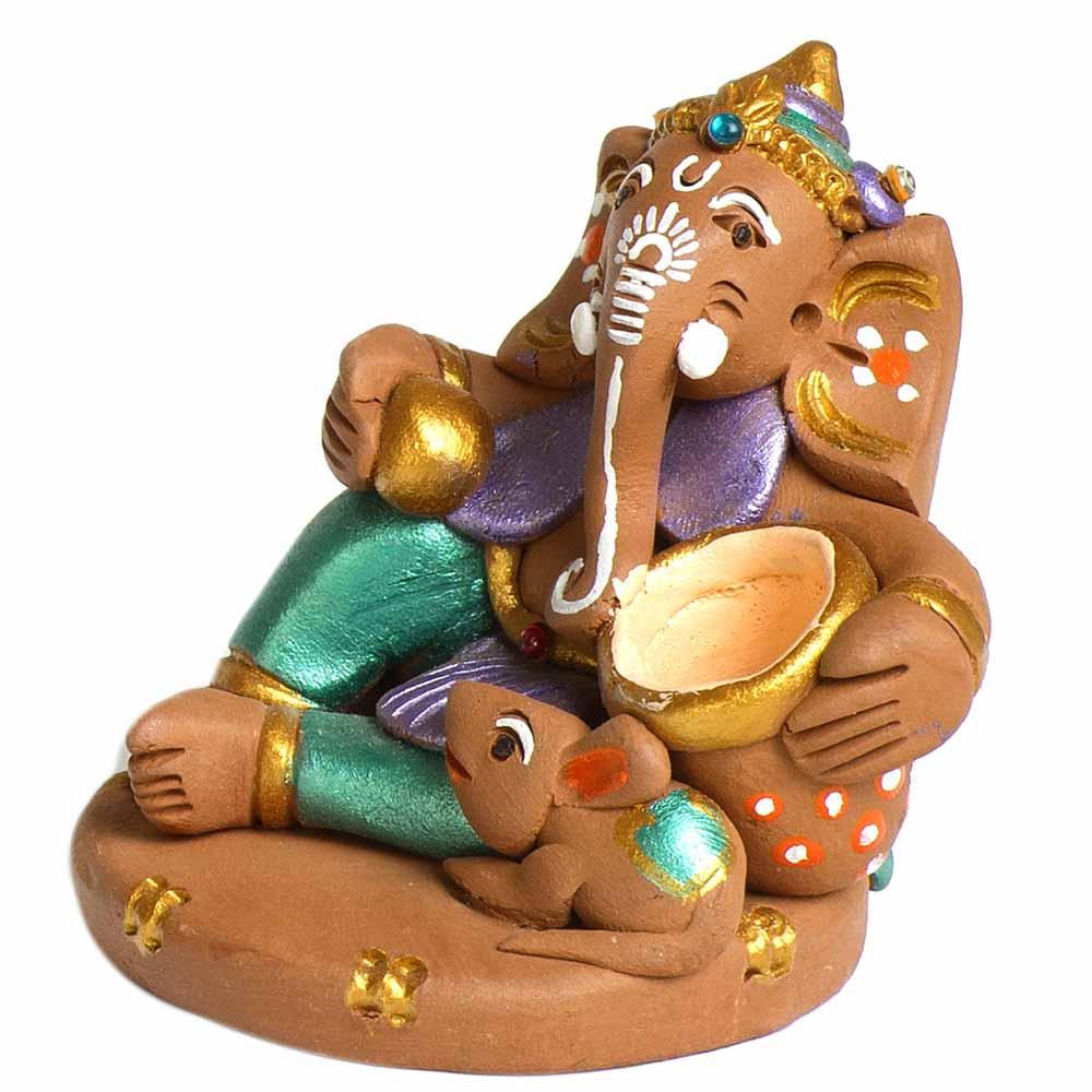 Terracotta-Broen & Green Terracotta Makhan Ganesh Showpiece