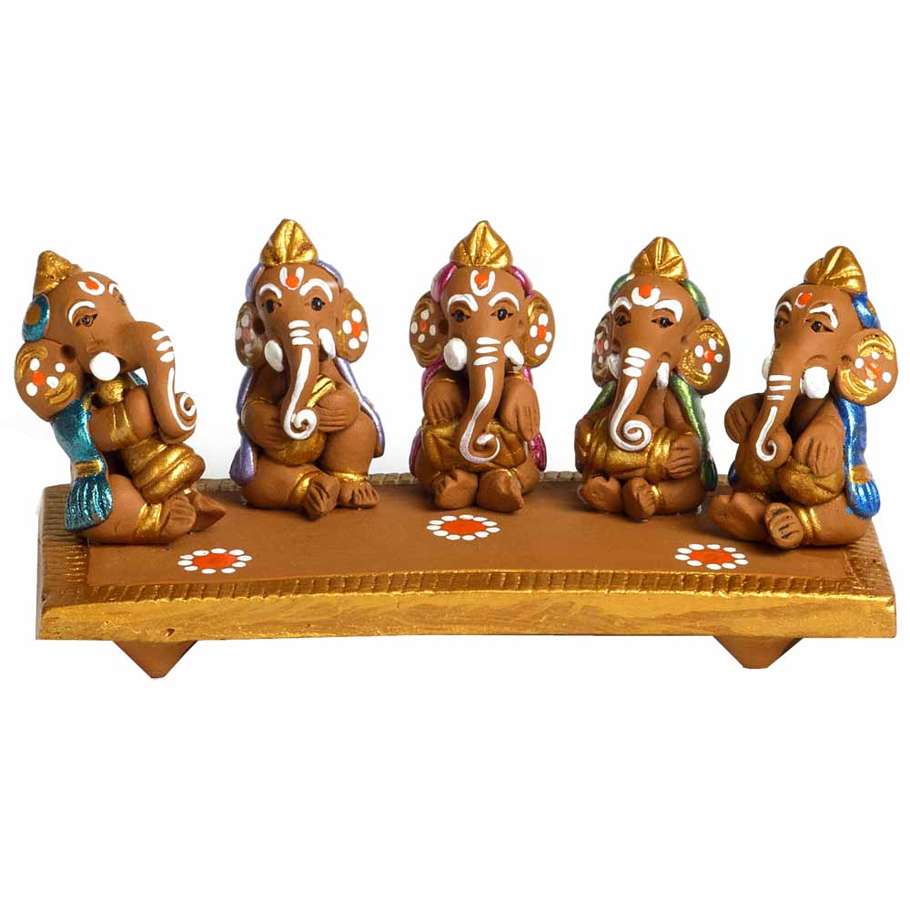 Multicolor Terracotta Musical Ganesh Sabha Showpiece
