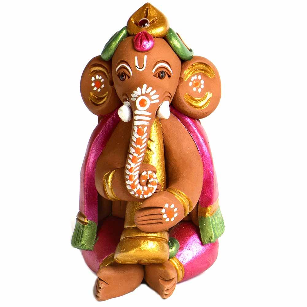 Terracotta-Brown & Pink Terracotta Sweet Ganesh Showpiece