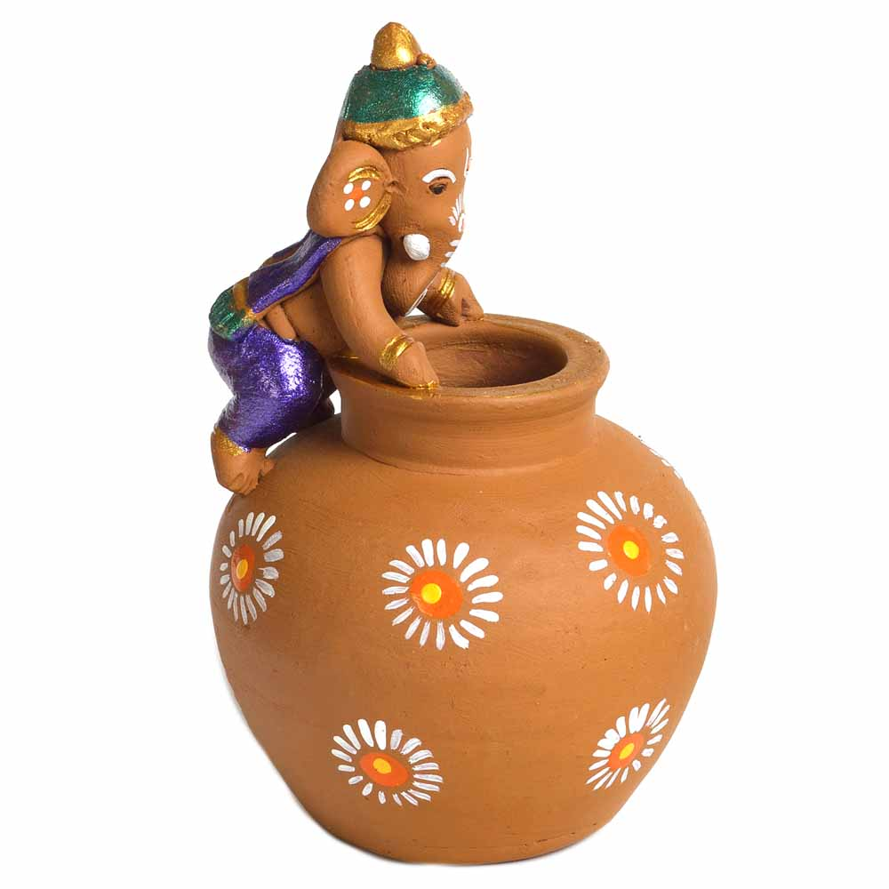 Terracotta-Multicolor Terracotta Ganesh with Matki Shaped Vase