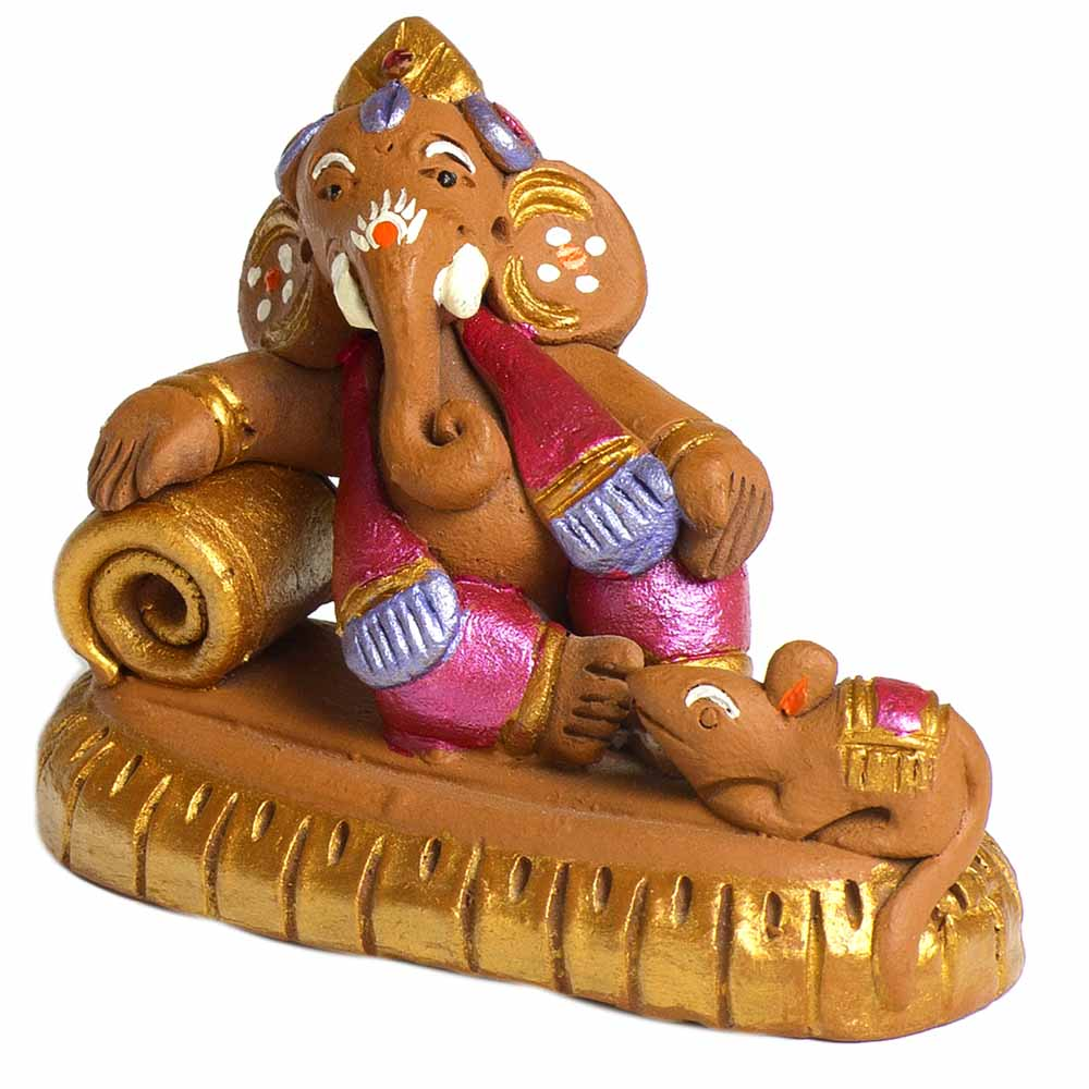 Terracotta-Brown & Pink Terracotta Sofa Ganesh Showpiece
