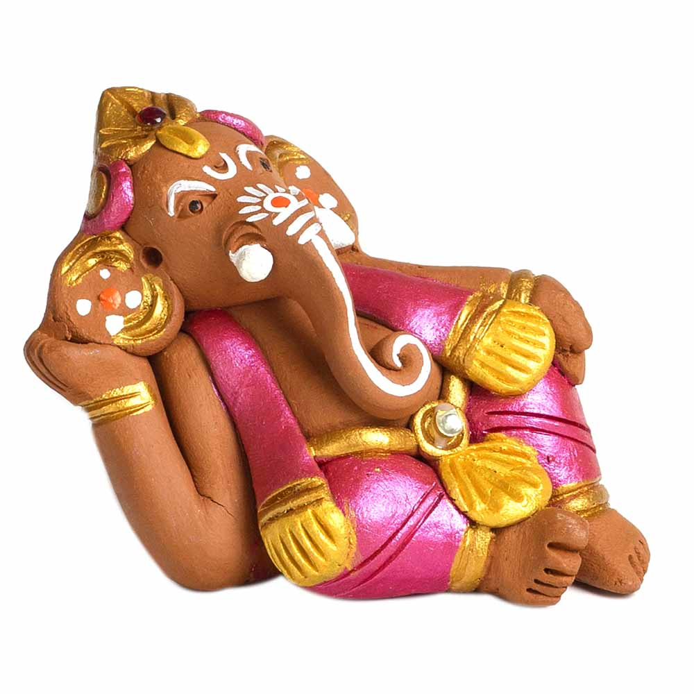 Terracotta-Brown & Pink Terracotta Sitting Ganesh Showpiece