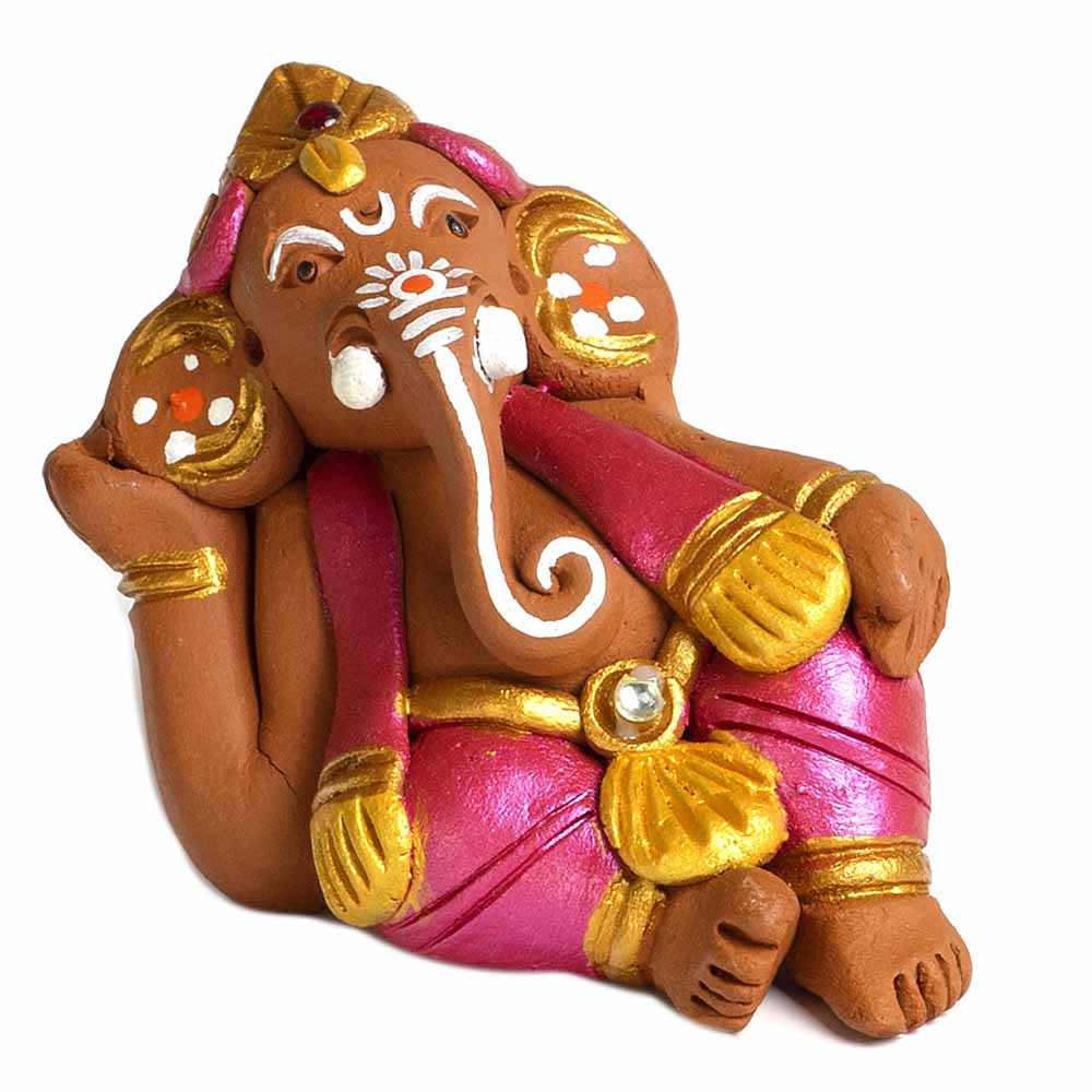 Brown & Pink Terracotta Sitting Ganesh Showpiece
