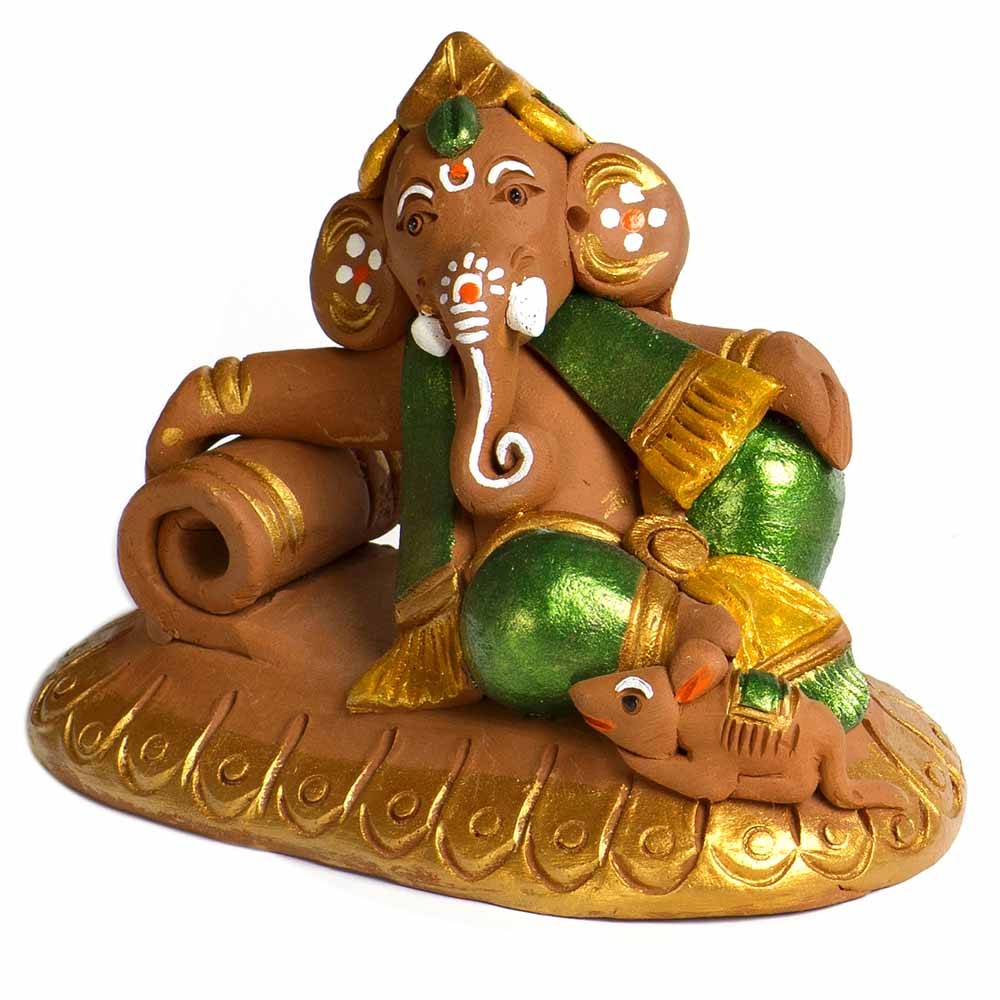 Brown & Green Terracotta Sofa Ganesh Showpiece