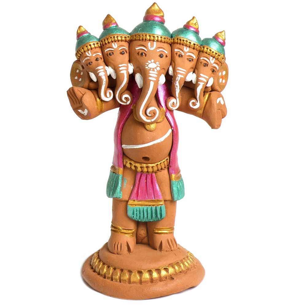 Terracotta-Multicolor Terracotta Panchmukhi Standing Ganesh Showpiece