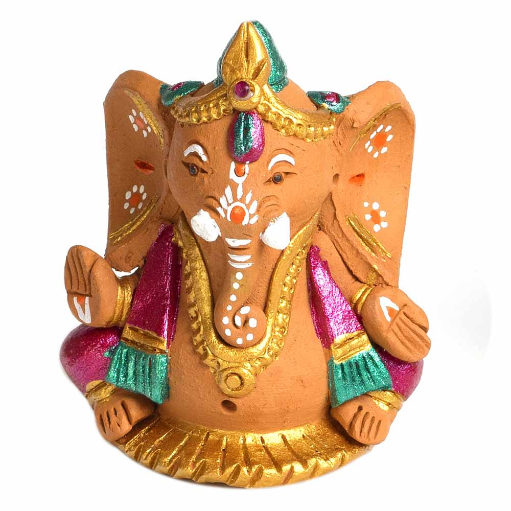 Multicolor Terracotta Valmiki Ganesh Showpiece