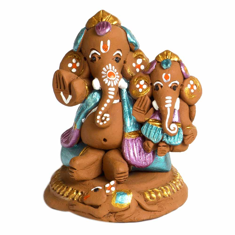 Multicolor Terracotta Ganesh Holding Baby Ganesh Showpiece