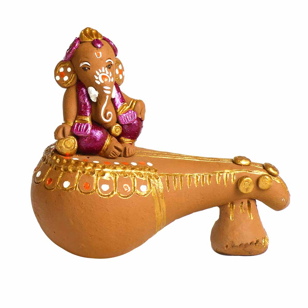 Brown & Pink Terracotta Ganesh with Veena Showpiece