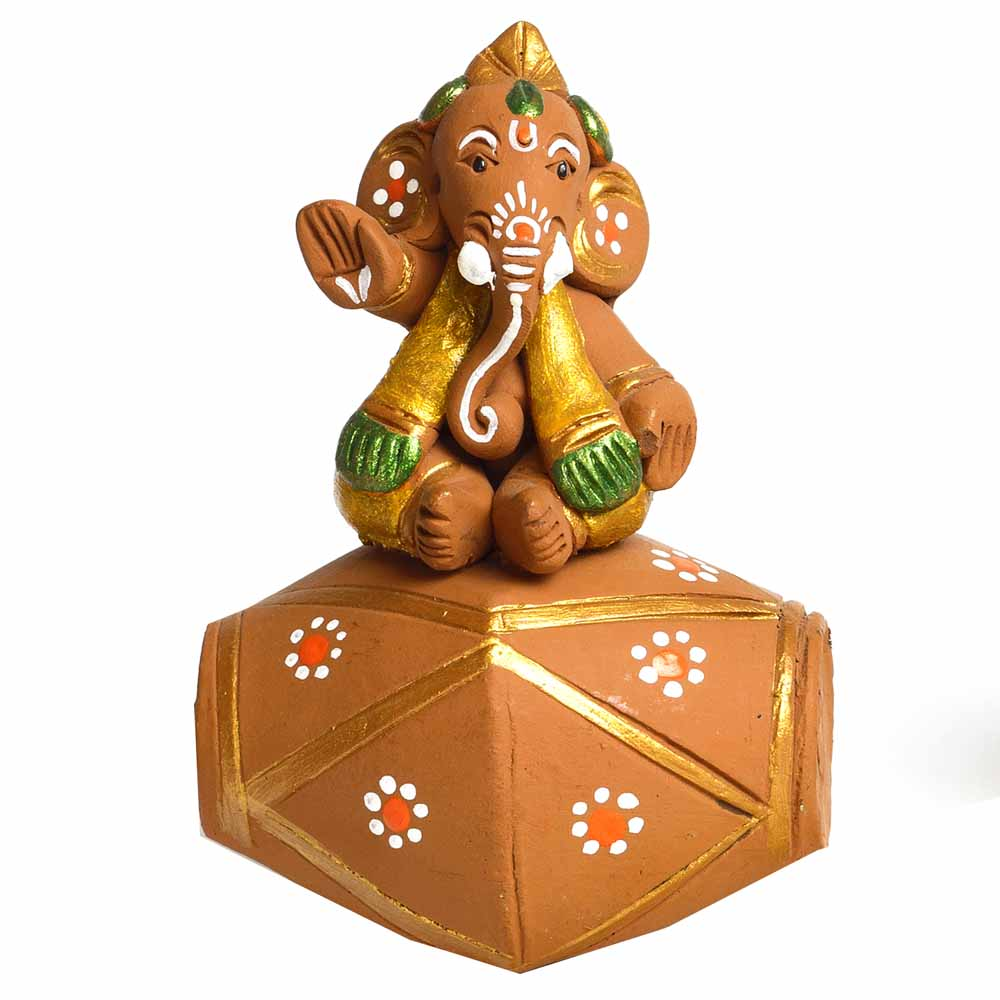 Terracotta-Multicolor Terracotta Ganesh with Dholak Showpiece