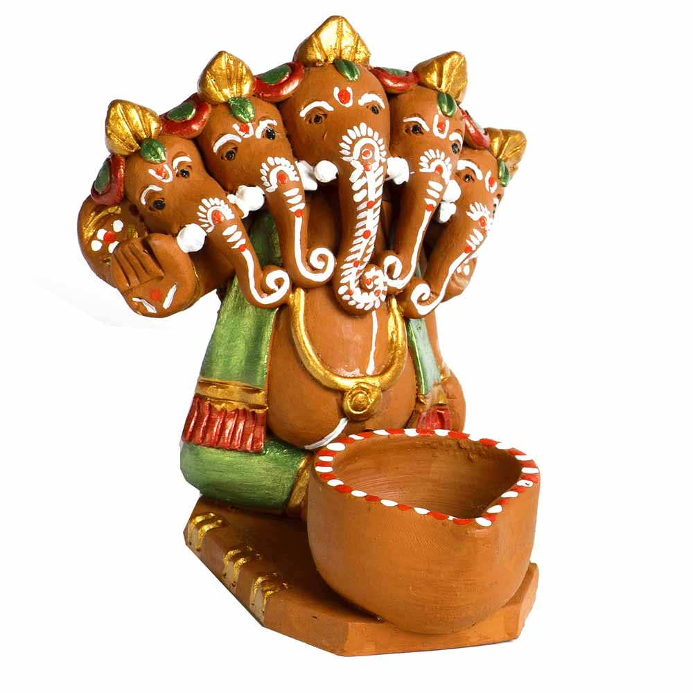 Terracotta-Multicolor Terracotta Panchmukhi Ganesh with 1 Diya