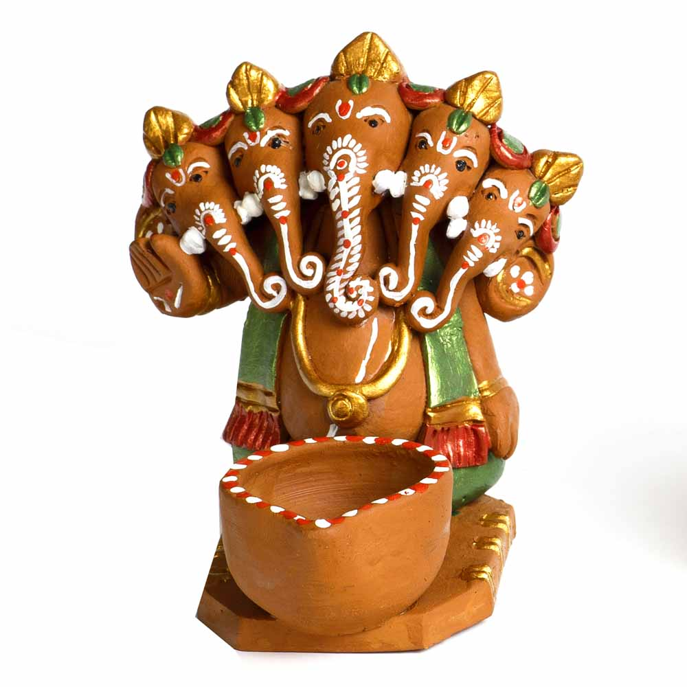 Multicolor Terracotta Panchmukhi Ganesh with 1 Diya