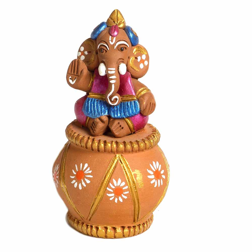 Multicolor Terracotta Sweet Little Ganesh Sitting on Matki