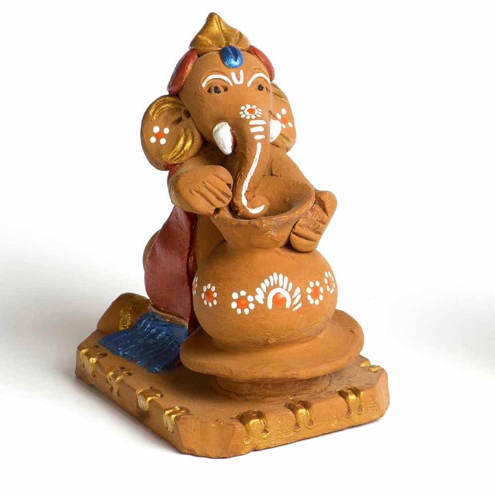 Multicolor Terracotta Pot Making Ganesh Showpiece