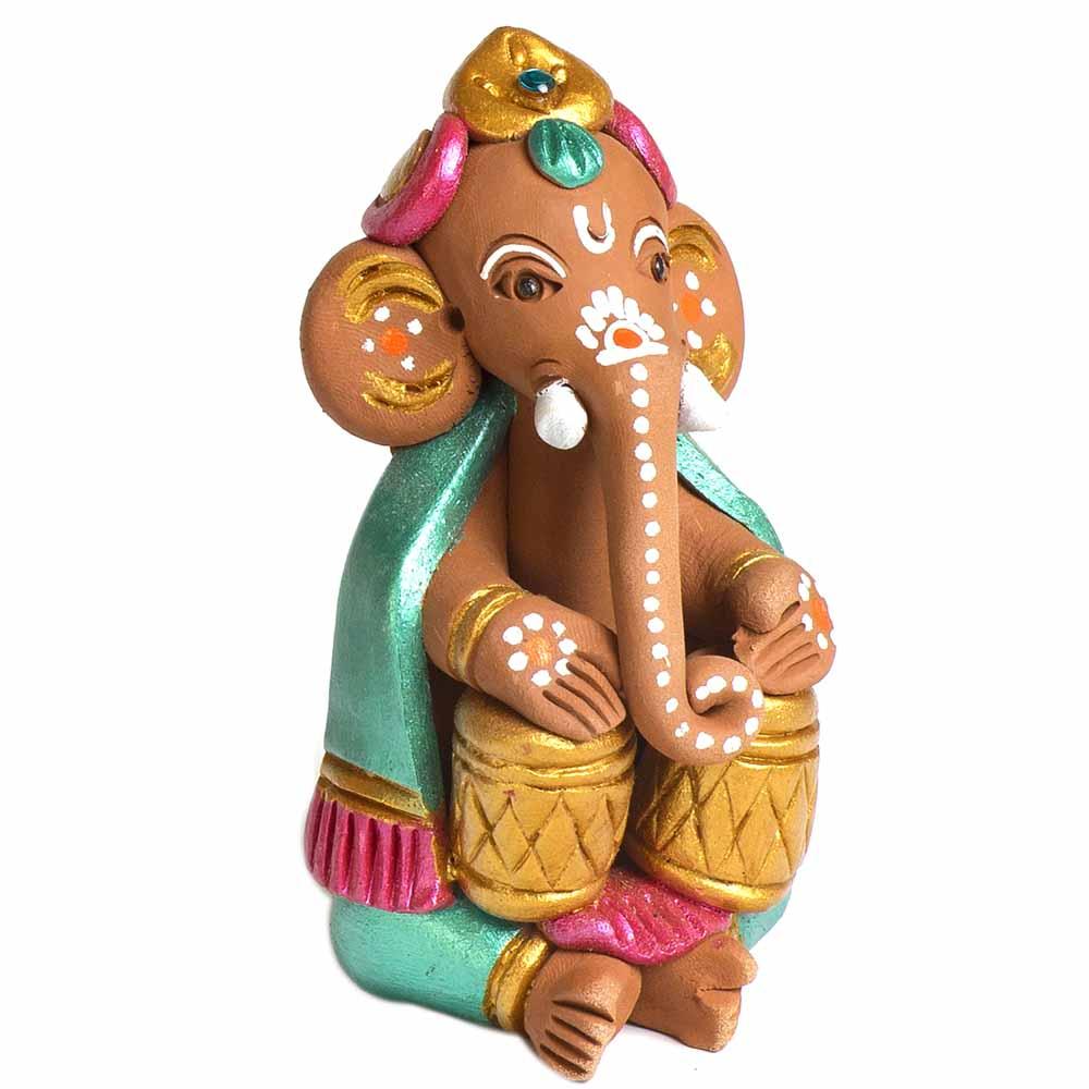 Terracotta-Multicolor Terracotta Ganesh with Tabla Showpiece