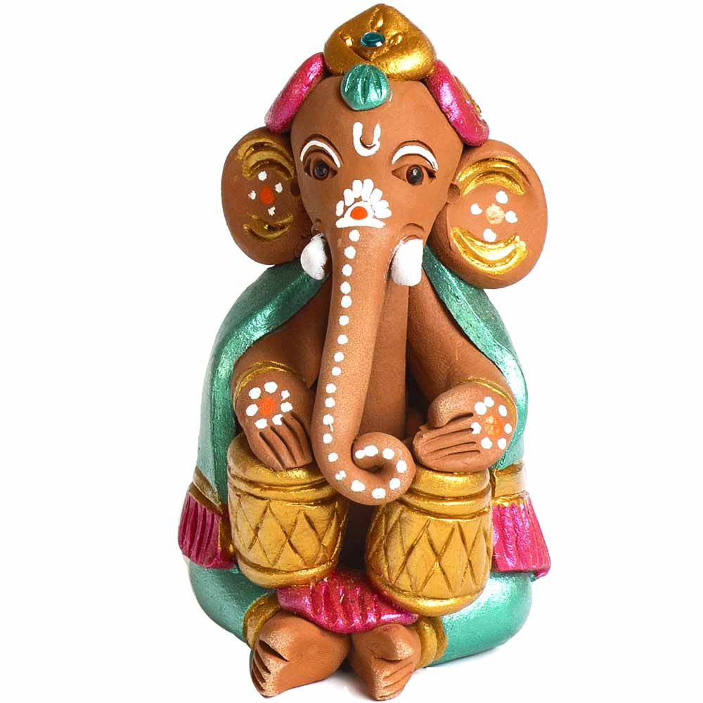 Multicolor Terracotta Ganesh with Tabla Showpiece