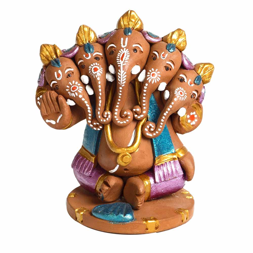 Multicolor Terracotta Panchmukhi Sitting Ganesh Showpiece