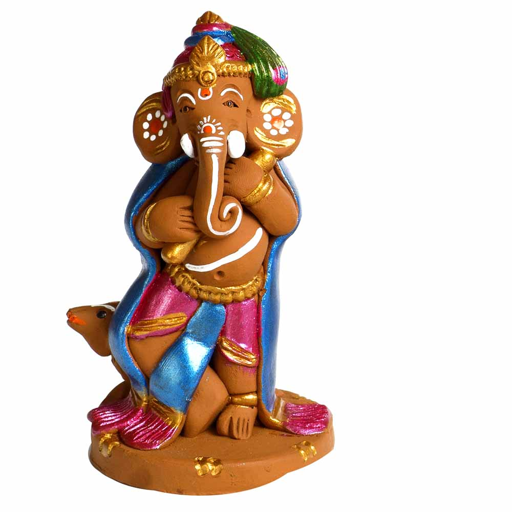 Multicolor Terracotta Ganesh with Mouse Showpiece
