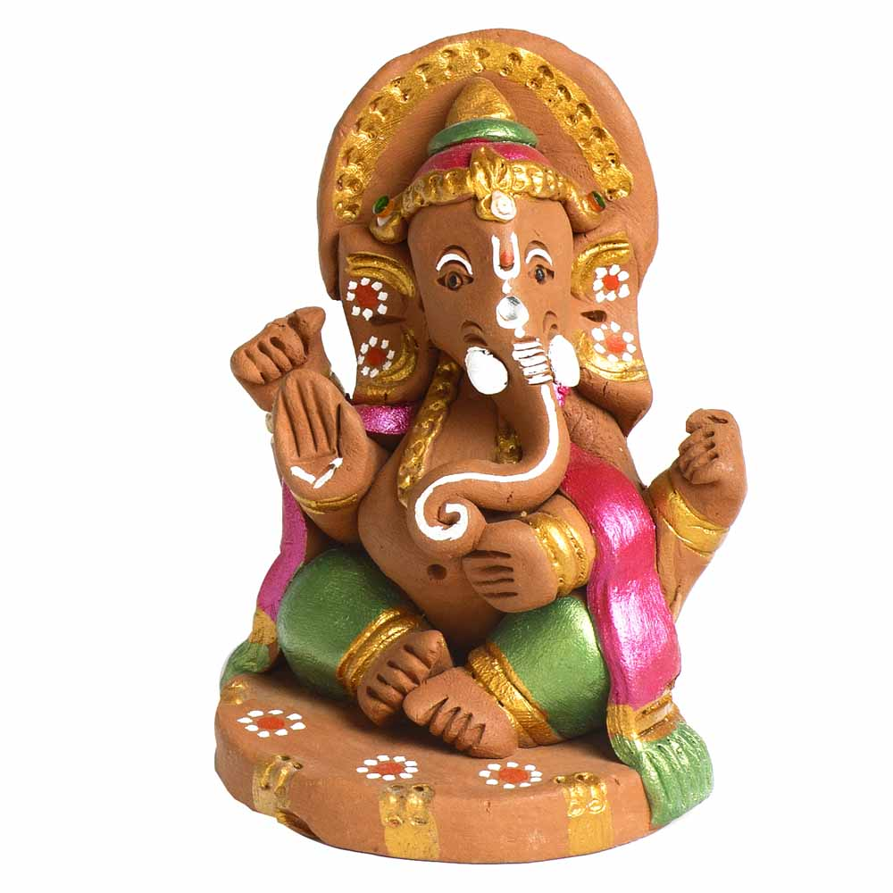 Multicolor Terracotta Sitting Ganesh Showpiece