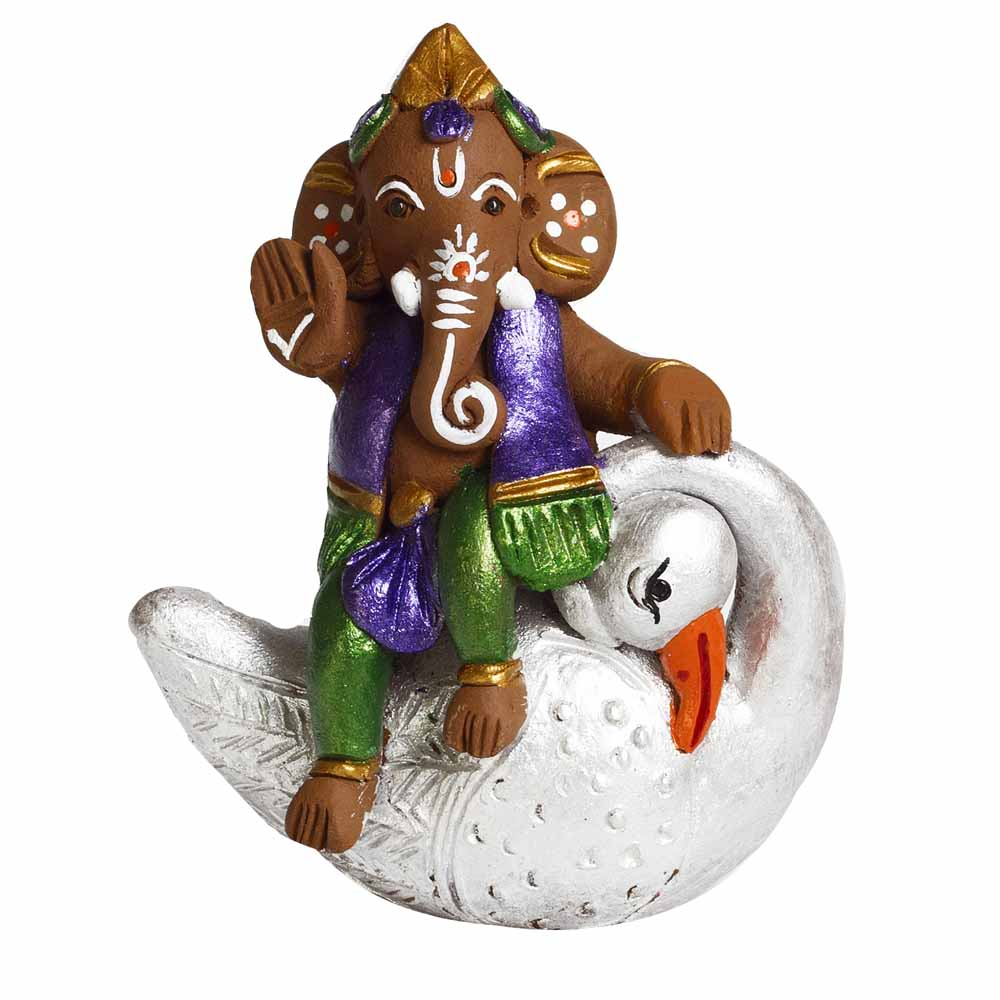 Multicolor Terracotta Ganesh sitting on Swan