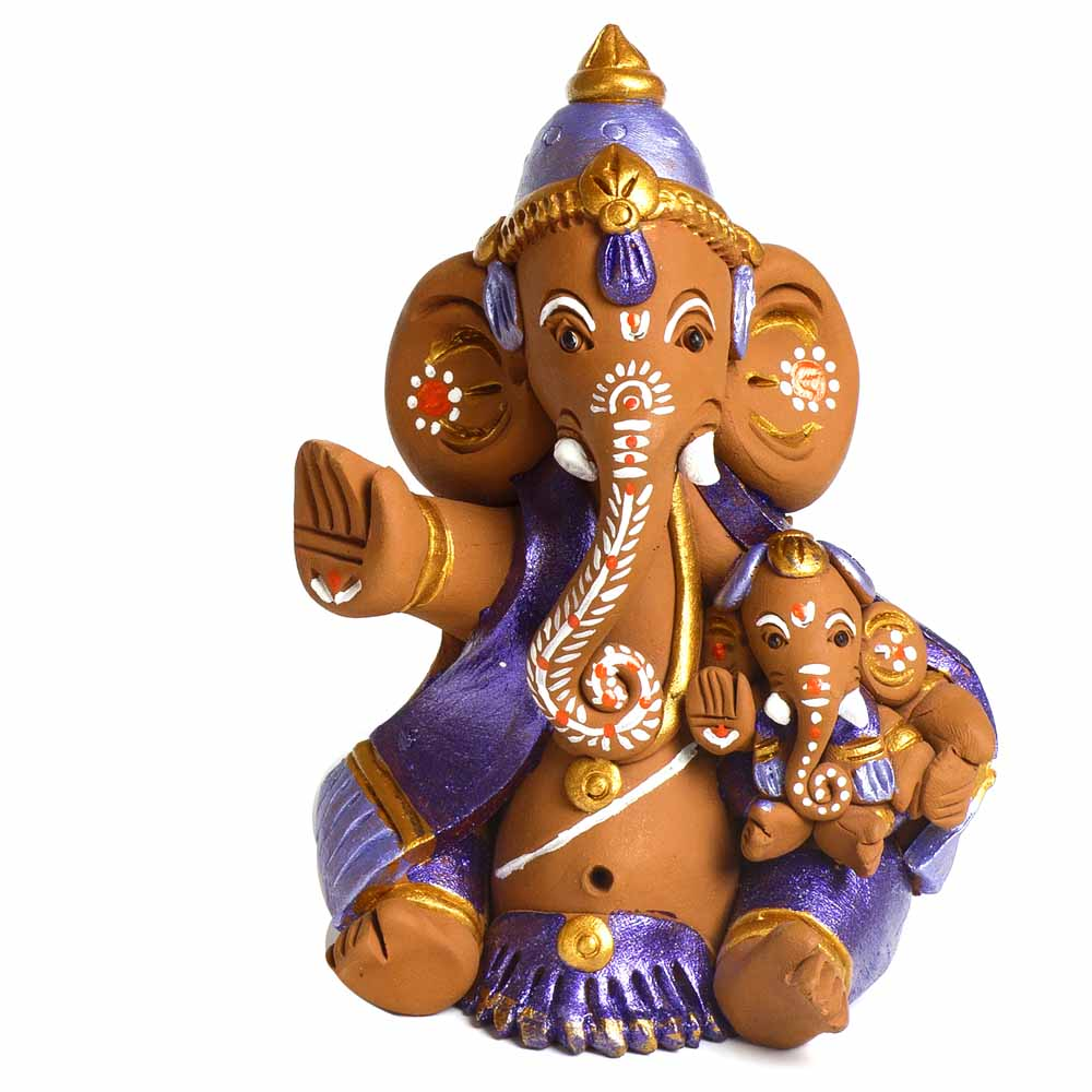 Brown & Purple Terracotta Ganesh Holding Baby Ganesh Showpiece
