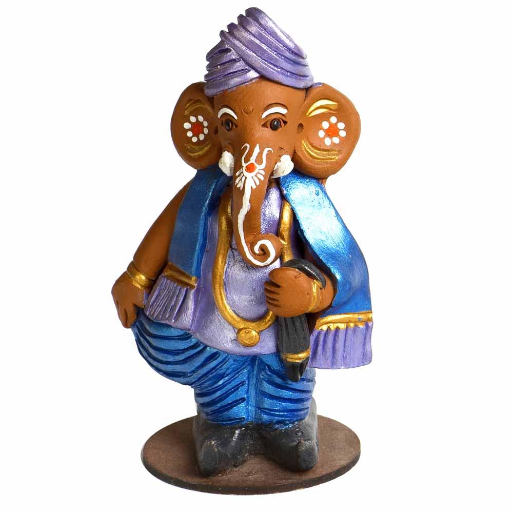 Multicolor Terracotta Ganesh in Muneem Look Showpiece