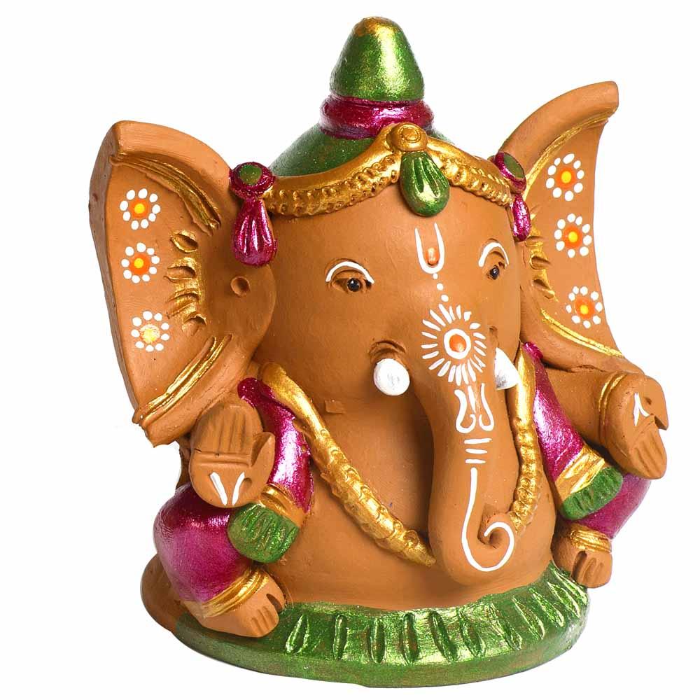 Terracotta-Multicolor Terracotta Big ear Ganesh Showpiece